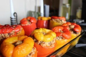 Quinoa Stuffed Red and Orange Bell Peppers 2 of 3
